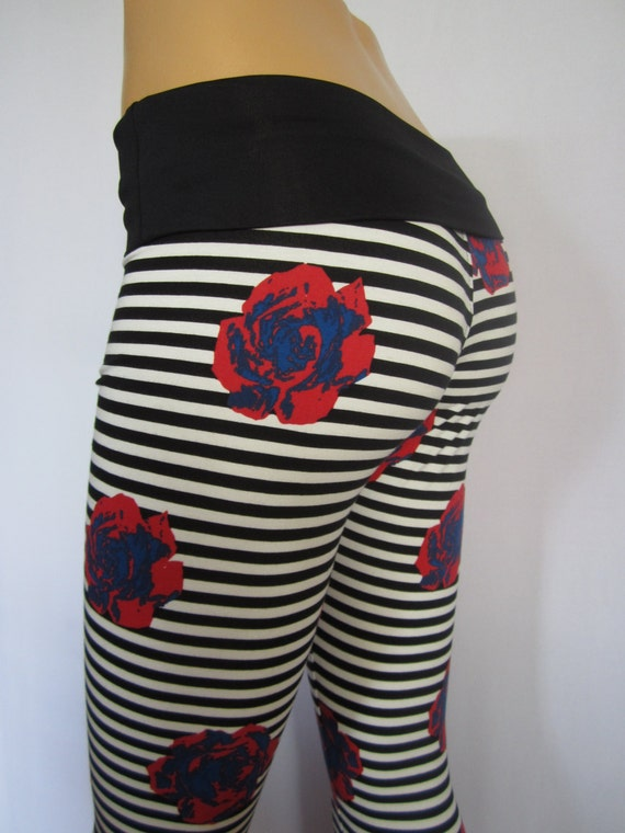 Yoga Pants Black White Stripe Floral by ZanzaDesignsClothing