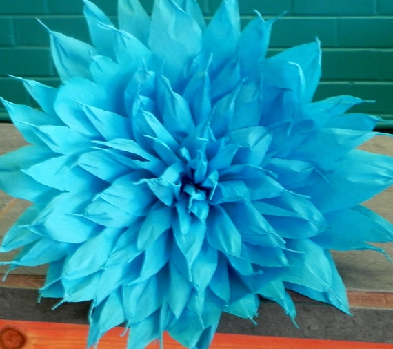 X large mexican paper flower teal 13 diameter we for Crepe paper wall flowers