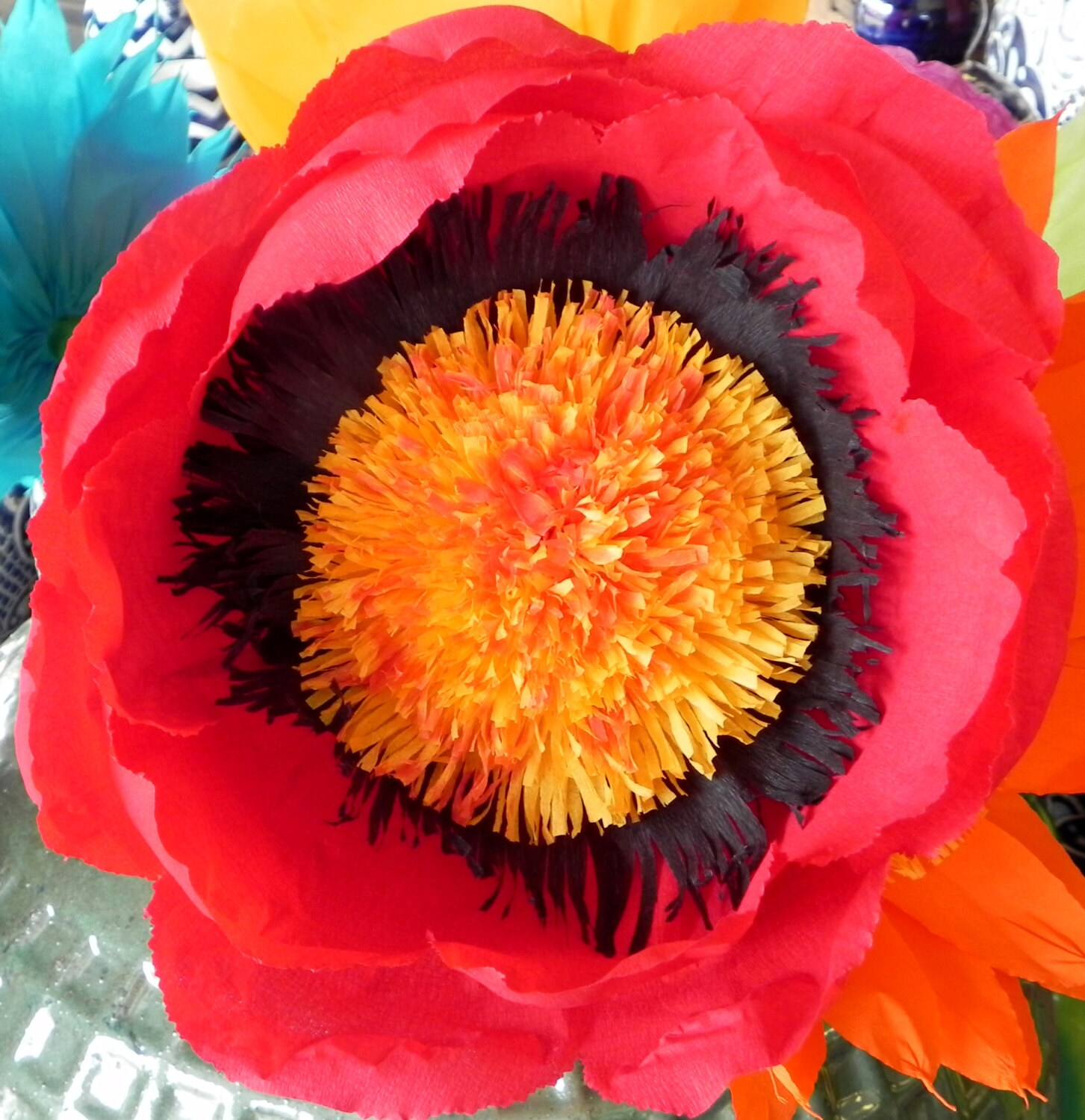 X Mexican Paper Flower Red 13 Diameter We