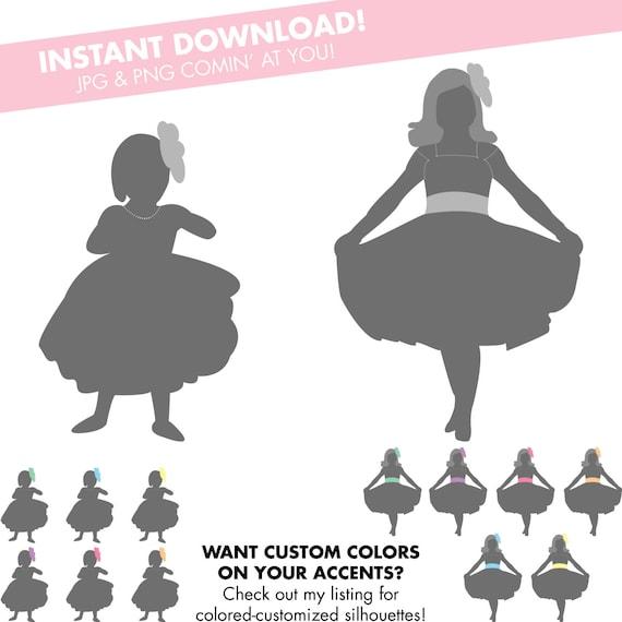 Flower Girl Silhouette Instant Download JPG & PNG DIY