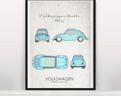 Volkswagen Beetle.1960s. Wall Art. Car Graphic. Digital Print. Typography A3 A2
