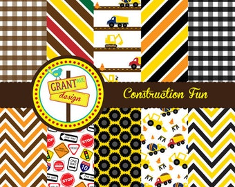 Construction Digital Papers - Backgrounds for Invitations, Card Design, Scrapbooking, and Web Design