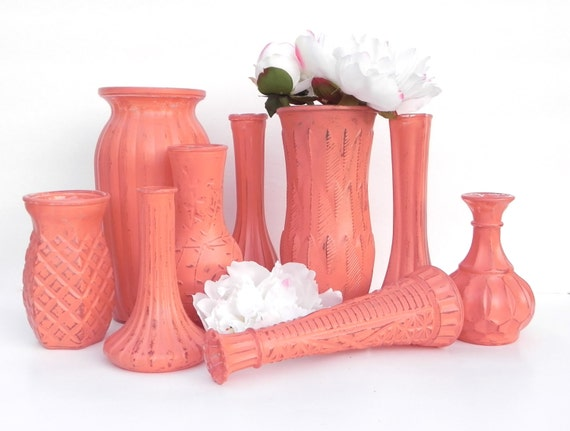 shabby chic coral vase collection set of 9 mixed size vases. Black Bedroom Furniture Sets. Home Design Ideas