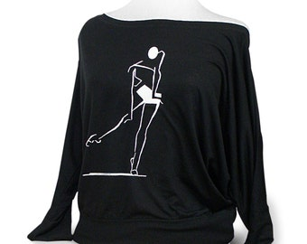 """Long Sleeve Flowy Dance Shirt For Class Or Warm Up. Titled """"Slide West"""". A popular top for dance class or rehearsal."""