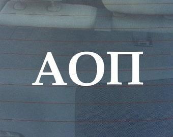 "Alpha Omicron Pi Sorority Sticker Window Laptop Car Decal Vinyl Ipad Iphone 3"" 6"" 8"""
