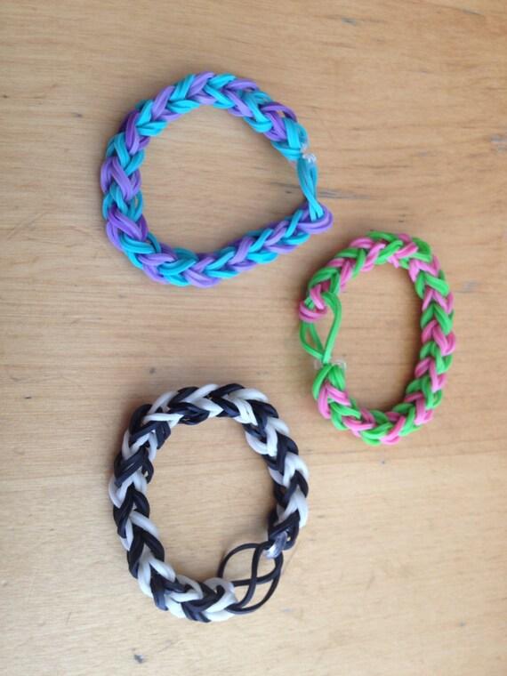Items similar to Double Single Rainbow Loom Bracelet on Etsy Rainbow Loom Double Triple Single