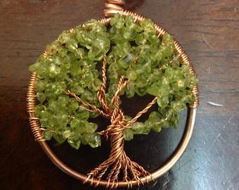 Copper Peridot Tree of Life Pendant by True North Metal