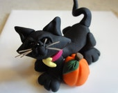 Polymer Clay Halloween Cat - zoobekkacreations