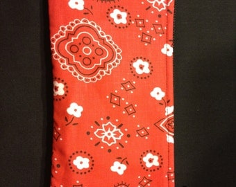 Red Paisley Pencil Case, Coin Purse, Wristlet, Cosmetic Bag #22