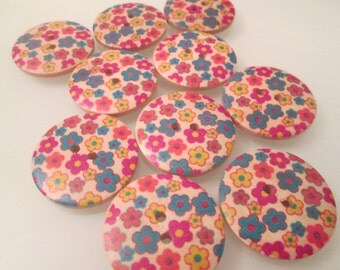 20 Wood Buttons 2 holes 30mm