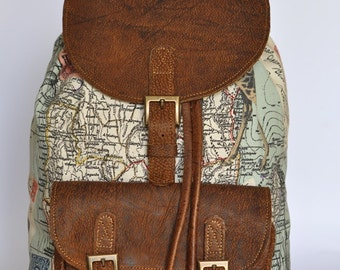 Wanderlust backpack genuine leather and world map atlas genuine leather and africa print backpack gumiabroncs Gallery