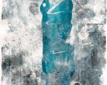Limited Edition Print of original Acrylic Abstract Artwork - White and Turquoise Abstract
