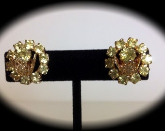 WERE 10, NOW 5! Lovely Yellow Rhinestone Clips c1960