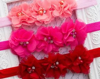 Baby Flower Headband,  Newborn Photo Prop, Baby Shower Gift, Valentine's Day Prop.