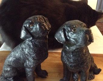Faithful Pair Antique Black Lab Dogs