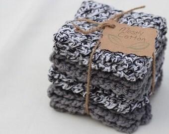Crochet Dishcloths,  4 Black and Dark Grey Dishcloths, Black Dishcloths, Grey Dishcloths, White Dishcloths, Gifts Under 20.00,