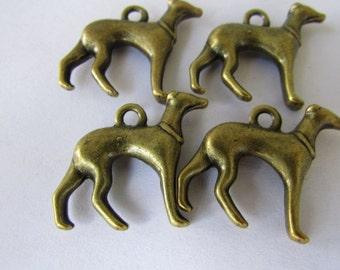 4 pcs. of Antique Brass Dog Charm Pendant