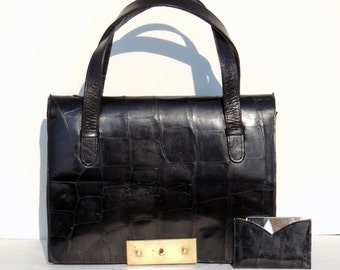 Fierce Vintage hand bag from the 60s real CROCODILE leather with a mirror on it