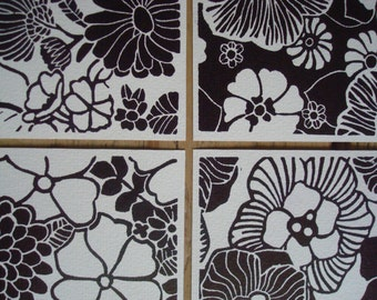 Black Flowers - set of 4 single cards with original lino print