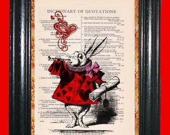 Alice in Wonderland White Rabbit Queen's Court with Red Heart - Vinttage Dictionary Book Page Art Beautiful Upcycled Page Art