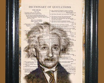 Albert Einstein Drawing Art - Vintage Dictionary Page Book Art Print Upcycled Page Art Dictionary Print