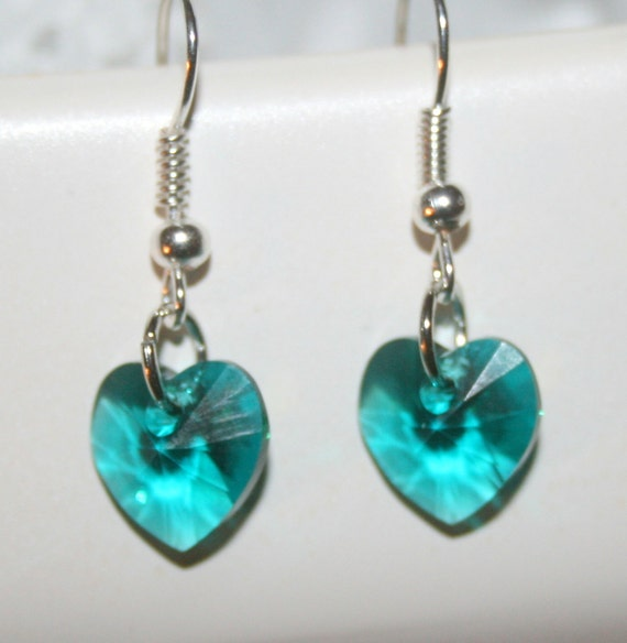 Swarovski crystal earrings, aqua earrings, beaded earrings, heart earrings, handcrafted, handmade jewelry