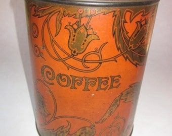 Art Nouveau Style Tinware Canister, Cook Coffee Company