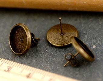 10mm Antique Bronze Ear Studs Earring Posts With Cabochon Bezel Setting rm91-10(12pcs)