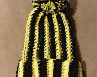 Striped Beanie Pom Pom Beanie - Steelers Beanie