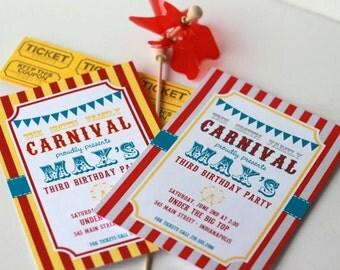 Carnival Printable Invite - fun - retro deisgn - classic