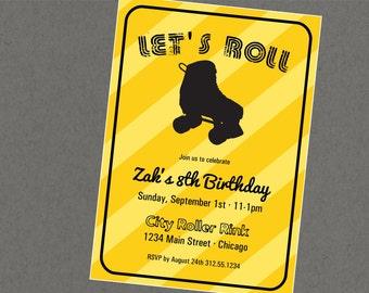 Yellow Roller Rink Roller Skating Retro Invitation