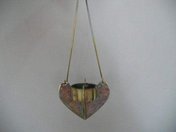 Wall Hanging Tea Light Holder : Vintage metal candle holder Hanging tea light by OldPretties