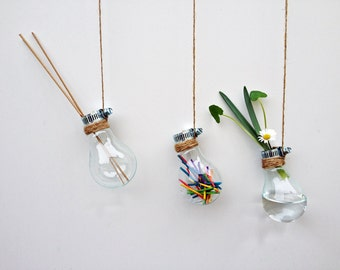 Set of 3 Glass Bulb Flower Displays  – Upcycled – Perfect Gift