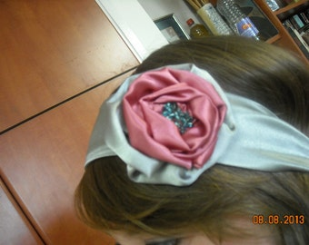 silver satin headband with silver and pink satin flower ,aqua blue beads