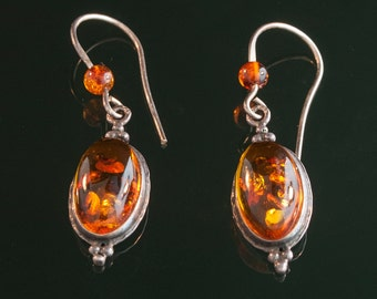 Antique Sterling Silver and Amber Drop Earrings
