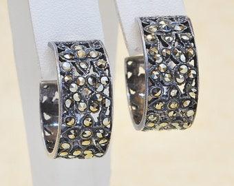 Vintage Sterling Silver and Marcasite Hoop Earrings