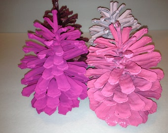 Shades of Pink Painted Pine Cones - 4 Pine Cones from Light to Medium to Dark Shades - 008
