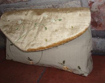 SALE! - Silk and velvet evening clutch bag
