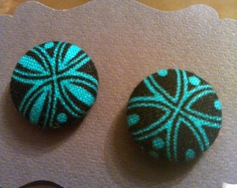 Black & teal fabric covered button earrings