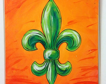 Emerald Sunset Acrylic Fleur de Lis painting on wood