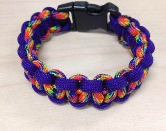 550 Paracord Survival Bracelet in Purple and rainbow multi color