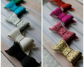 Set of 9 Mini Rainbow Sparkle Bows - Headband Set - Newborn