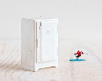 Miniature White Fridge - Mid century Design - Dolls House -  Made in England