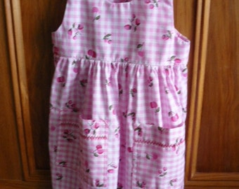 Hand made new dress, size 3, pink and white check with bright pink print.