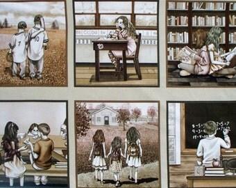 "Best Friends School cotton panel -- approximately 23"" x 44"""