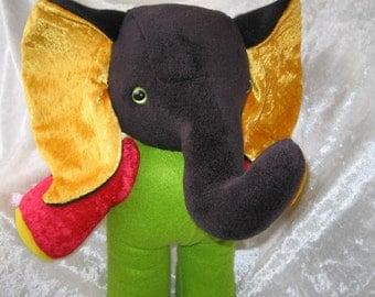 Stuffed ELEPHANT stuffed animal elephant stuffed animals plushies soft toys elephant REGGAE elephant decor RASTA red green yellow elephant