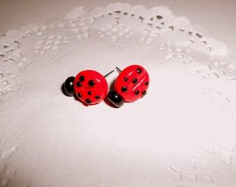 Ladybug earrings polymer clay
