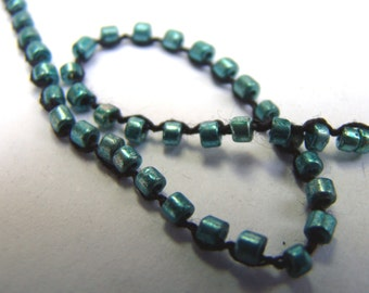 Vintage turquoise beaded crochet yarn cord for fiber arts, bead embroidery, and quilting - 5 yards