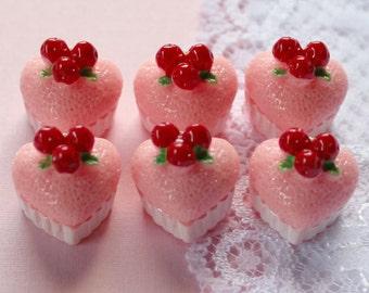 6 Pcs 3D Strawberry Heart Cake Cabochons - 15x15mm