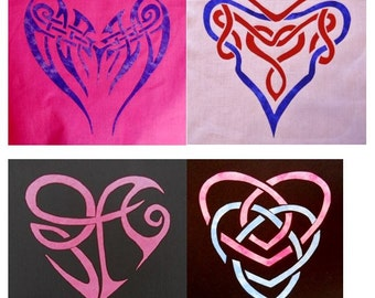4 Celtic Heart Quilt Applique Patterns (Set 1)